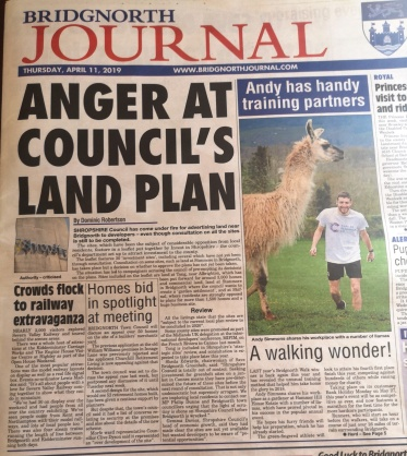 Bridgnorth Journal front page 10th April 2019