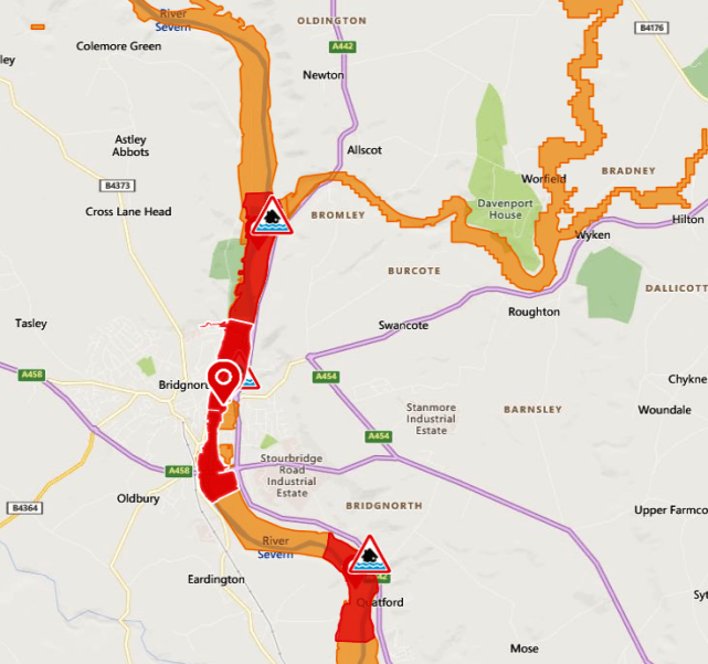 Bridgnorth flood warnings 24 Feb 2020